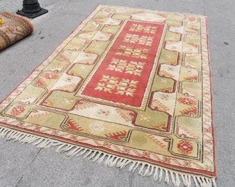 turkish rug, rug pastel -vintage oushak rug, runner rug home decor,
