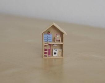 Miniature House, Orange House, wooden house, handmade, prettymodels