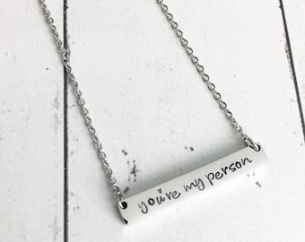 You're My Person Horizontal Bar Necklace - Gift for Wife - Gift for Girlfriend - Anniversary Gift - Minimalist Bar Necklace - Dainty