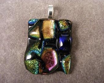 Dichroic Multicolored Textured Pendant