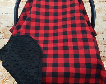 Infant Car Seat Cover Blanket Canopy Red Buffalo Plaid - Buffalo Plaid Baby - Buffalo Plaid Nursery - Lumberjack Nursery - Lumberjack baby