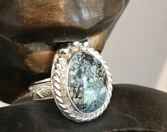 Rare casseopeia variscite cabochon ring.  handmade sterling silver size 7 ring
