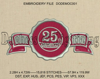 25th Anniversary Business Seal Embroidery Design, 25th Anniversary Business Seal Embroidery File, DODEMOC001