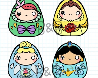 Disney Princess Daruma Stickers