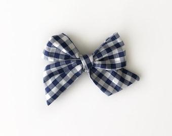 Blue Gingham Twirl Bow