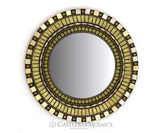 "Green Mosaic Mirror 13""  Round Mosaic Mirror, Green Home Decor"