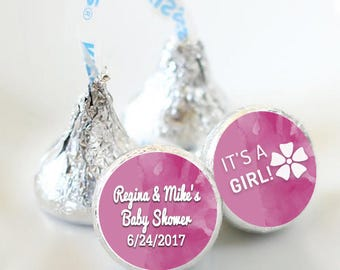 It's a Girl Baby Shower Favors - Baby Shower Party Favors - Hershey® Kiss Stickers - Kiss Seals - 108 Stickers - Baby Shower Candy Sticker