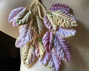 Pink Romance Leaves Velvet Millinery for Bridal, Boutonnieres, Hats, Costumes