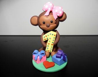 Birthday cake topper girl, Girl first birthday, Girl birthday party decor, Cake topper monkey, Baby girl cake topper, 1st cake topper