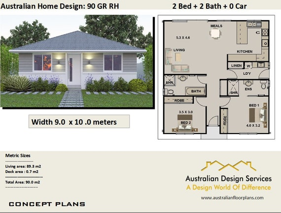 Superb 968 Sq Feet Or 90 M2 | 2 Bedroom | 2 Small Home Design | Small Home Design  | 2 Bedroom Granny Flat | Concept House Plans For Sale