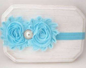 Powder Blue Chiffon Flower Headband - Baby Blue Headband - Newborn Headbands - Blue Hair Bows - Flower Girl Headband - Fancy Headbands