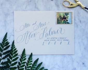 Unique Script with Block Print Wedding Envelope Addressing in Professional Calligraphy
