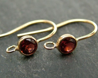 Gold Filled Garnet Ear Wire ~ PAIR