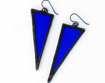 EARRINGS - Triangle Earrings, Stained Glass Earrings