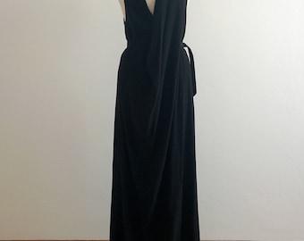 90s Ann Demeulemeester black draped maxi dress