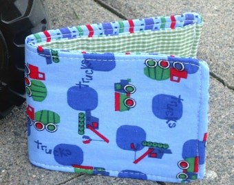 Kid's wallet, Little Boy's first wallet with Dump Trucks and Cement Trucks, Slim Cotton Wallet, vegan