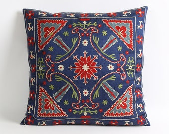 Navy blue suzani silk embroidery pillow cover, 18x18 Suzani Decorative Pillow Cover