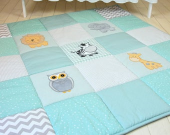Gray Mint Baby Play Mat, Jungle Baby Mat , Baby Activity Mat, Safari Baby Playmat, Playroom Decor