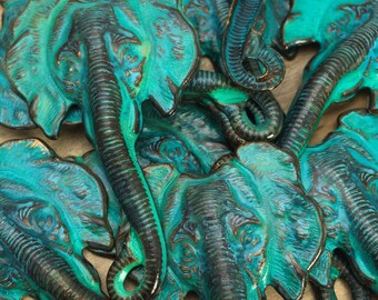 Patina Elephant - 1 pc - Hand Patina Aged Teal - Large Elephant Head Stamping - LIMITED QUANTITIES - Patina Queen