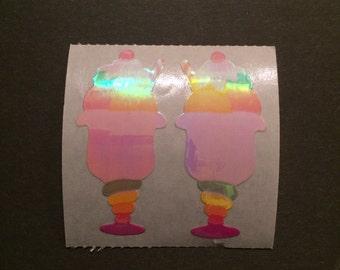 Sandylion vintage very rare shiny ice cream sundae stickers