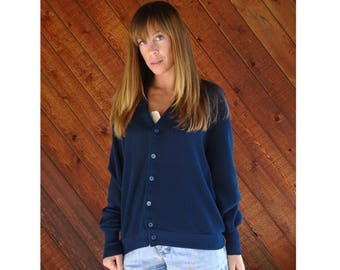 Navy Blue V Neck JANTZEN Cardigan Sweater - Vintage 80s - M