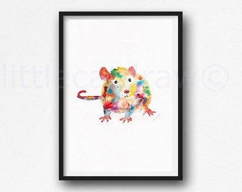 Rat Print Watercolor Painting Print Colorful Animal Art Rat Lover Gift Art Print Bedroom Wall Decor Wall Art Watercolor Print Home Decor