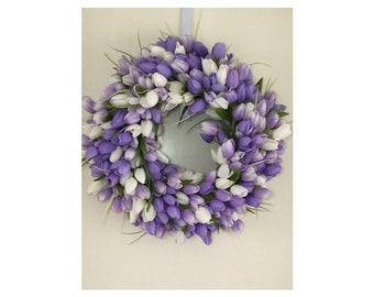 Mothers's Day, Tulip Wreath, Lavendar Wreath, Spring Wreath
