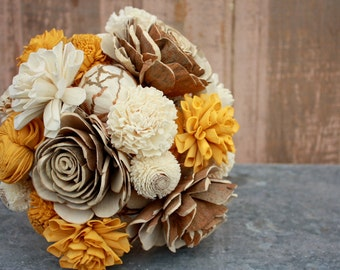 Sola flower bouquet, brides wedding bouquet,mustard yellow, yellow wedding flowers, neutral, rustic bouquet, alternative keepsake