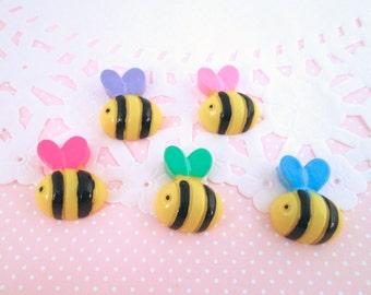 Multicolor Honey Bee  Cabochons, Cute Bug Cabs, #518B