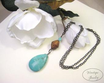 Long Turquoise Pendant, Magnesite Gemstone Pendant, Turquoise Necklace, Bronze Necklace, Teardrop Pendant, Boho Necklace, Boho Jewelry