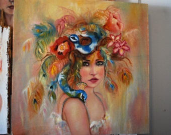 "Painting ""Mayur"" an original oil painting 24x24"