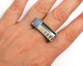 FLW Grid Ring (OOAK 3D printed ring with enamel)