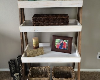 "Wood Ladder Shelf Bookcase - ""Tripletree"" Handmade Pine bookshelf"