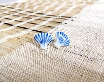 Small Ear Studs - Ear Studs for women/men - Ceramic Earrings - Indigo Blue Ear Studs - Handmade