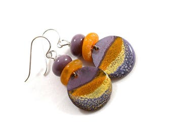Handmade Earrings,  Enamel Earrings, Boho Chic Earrings, Artisan Earrings, Tribal Earrings, Purple and Orange Earrings, Silver, AE217