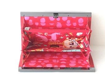 Accordianna cork wallet - bright red cork