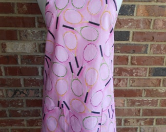 Women's Full Apron, Tennis Rackets Apron, Kitchen Apron, Pocket Apron, Bib Apron, Hostess Gift, Pink Apron, BBQ Style Apron, Shower Gift