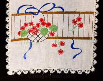 1940s Table Runner - Red Flower Basket Embroidery - Charming Lattice Bowl with Blue Ribbon - 40s 50s Embroidered Dresser Runner - 49852