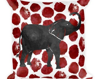 "Crimson Elephant Throw Pillow - 18""x18"" cushion with polyester insert, crimson home decor, dark red dots, watercolor elephant"