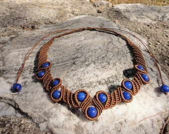 Sky Drops - macrame necklace with blue nephrite beads