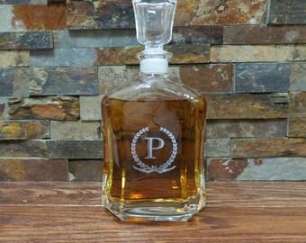 Personalized Whiskey Decanter - Liquor Bottle - Groomsmen Gift- Best Man Gift- Groomsman - Gifts for Men - Grandfather, Custom Glassware