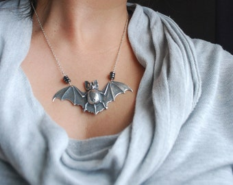 Silver Bat Necklace Hematite Disk Beads Statement Necklace
