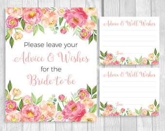 Please Leave Your Advice and Wishes 5x7, 8x10 Printable Bridal Shower Sign and 4x5 Cards - Coral Pink Watercolor Peonies - Instant Download