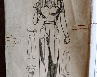 Side Buttoned Work Overalls, Playsuit, or Slacks Mail Order Sewing Pattern, Anne Adams 4305, Size 20, Vintage 1940s