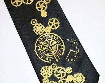 RokGear Clock Gear necktie print. Men's necktie Custom colors print to order