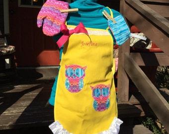 Personalized kids apron set-owls