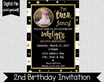 I'm Two Fancy Birthday Invitation - Second Birthday Invite - Girl's Second Birthday Invite - Black & Gold Glitter - Two Fancy - Girly