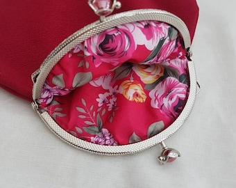 Pretty large Dark Pink Flower Kiss Clasp Coin/Change Purse/Small Clutch/Prom bag
