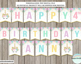 Unicorn Banner, Unicorn Happy Birthday Banner, Magical Birthday Party, Rainbow Unicorn Bunting Banner, Unicorn Birthday Party, DIGITAL FILE