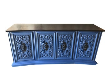 Blue Mid Century Credenza, Buffet, Sideboard